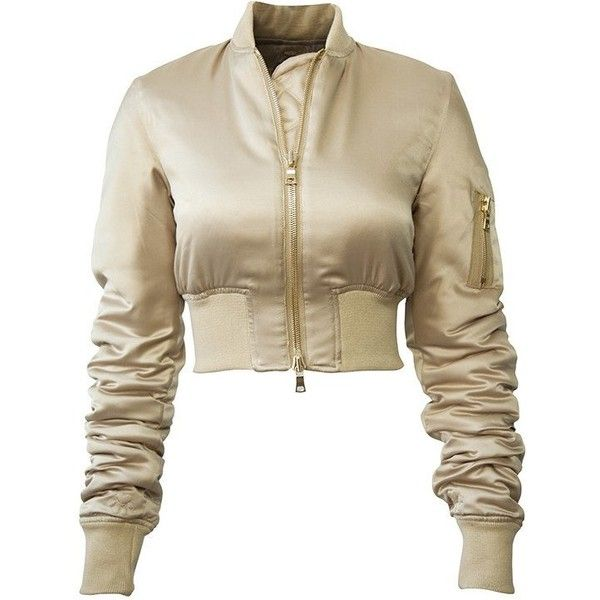 Keta Jacket ($699) ❤ liked on Polyvore featuring outerwear, jackets, brown cropped jacket, zip jacket, zip bomber jacket, puffa jackets and bomber jacket