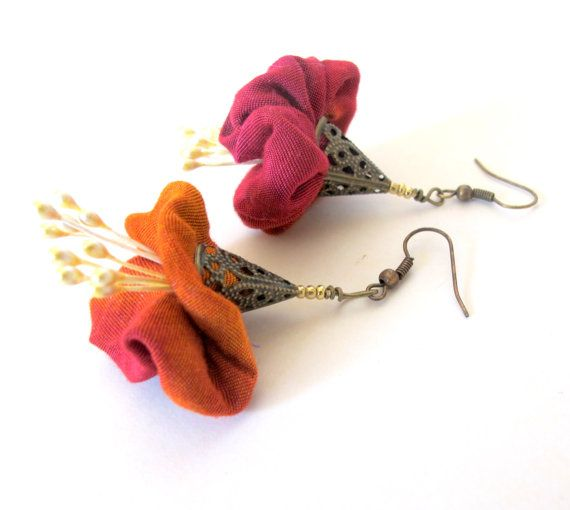 Asymmetrical blossom fiber earrings, unusual fiber dangles, deep orange red earrings, eco fiber earrings