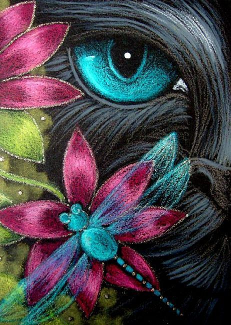 kitten and flower artwork | Art: *BLACK CAT DRAGONFLY & FLOWERS 1 by Artist Cyra R. Cancel