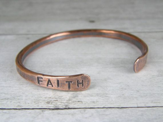 FAITH Copper Bracelet, Hand Stamped Cuff, Hammered Bangle in Mens or Womens