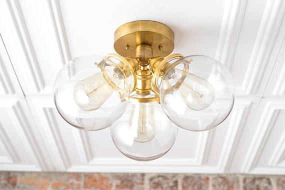 Edison Bulb Ceiling Lamp - Flush Mount - Mid Century Modern - Brass Ceiling Fixture - Globe Lamp