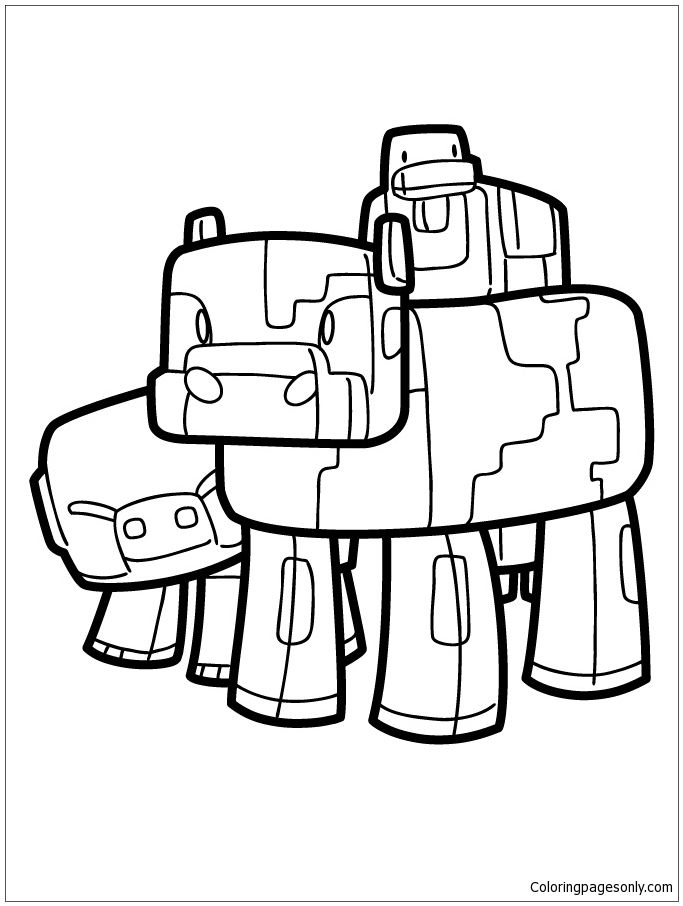 Minecraft Pig Cow And Duck Coloring Page Minecraft Coloring