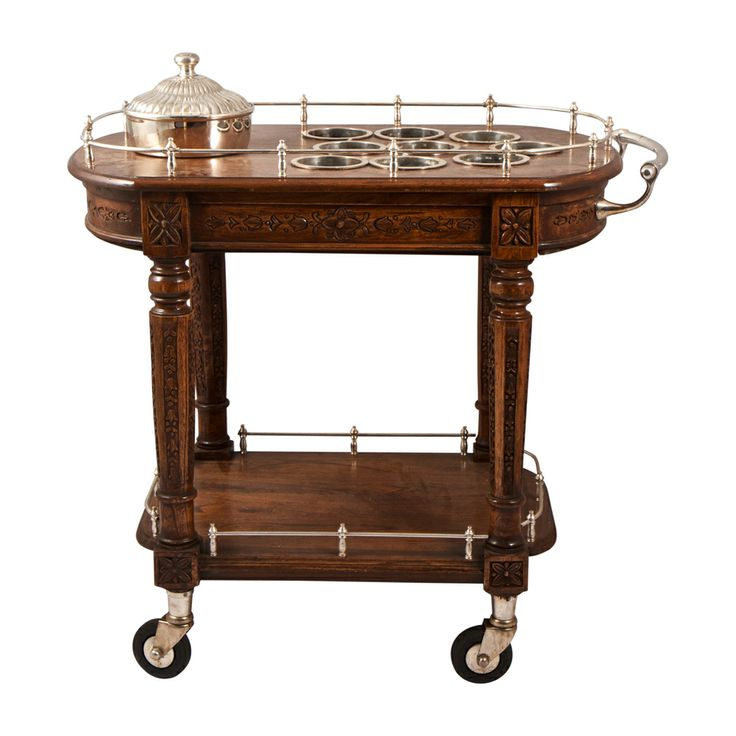 Serving cart for drinks with ice bucket wood and silver
