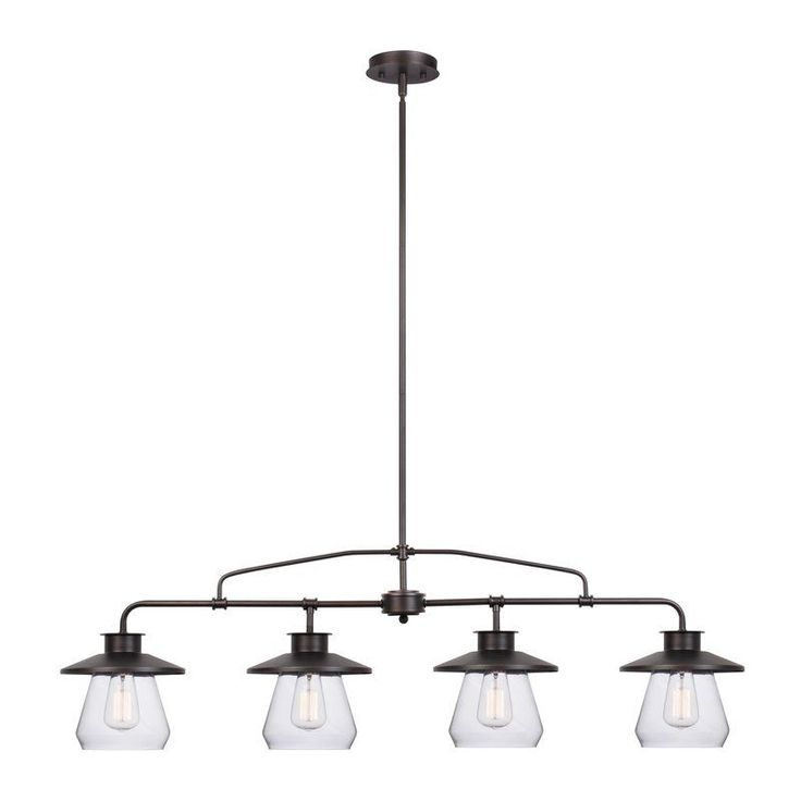 Fashioned after vintage inspired lighting Globe Electric's Angelina 4-Light Industrial Vintage Pendant adds a rustic industrial feel to any room. Hanging from a three-piece hanging rod you can customize this fixture to your desired look and lighting needs. Fully compatible with dimmable LED bulbs and dimmer switch, the clear glass shade and exposed bulb easily creates lighting ambiance and different moods. Ideal for use in kitchens, restaurants, bars, and dining rooms. Includes all mounting…