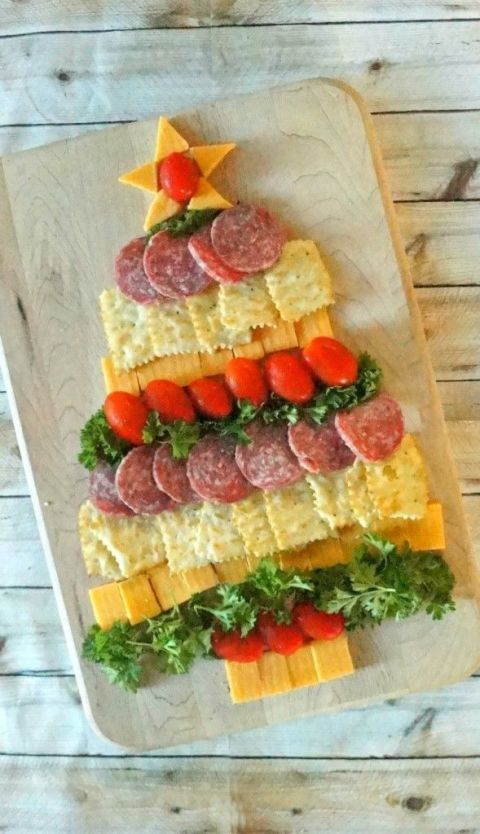 Cheese, Sausage and Cracker Christmas Tree: Need a last-minute Christmas appetizer? Create an array of cheeses, meats and crackers in the shape of a Christmas tree. Kids won't be able to resist! Find more easy, make ahead, healthy, kid friendly, elegant and classic Christmas dinner and party appetizers, finger foods and dip recipes and ideas here.