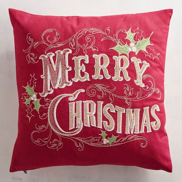 Pier 1 Imports Merry Christmas With Holly Pillow ($24) ❤ Liked On Polyvore  Featuring Home, Home Decor, Holiday Decorations, Red, Red Home Decor, ...