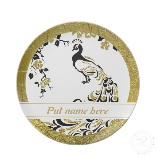 Black, faux gold foil peacock and cherry blossoms keepsake plate.