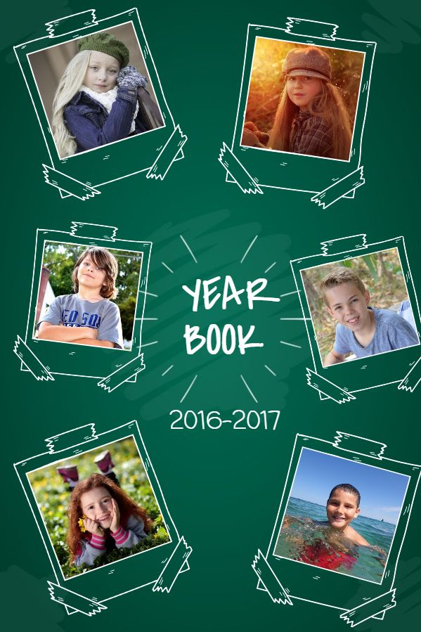School Yearbook Collage Template Green Yearbook Pages