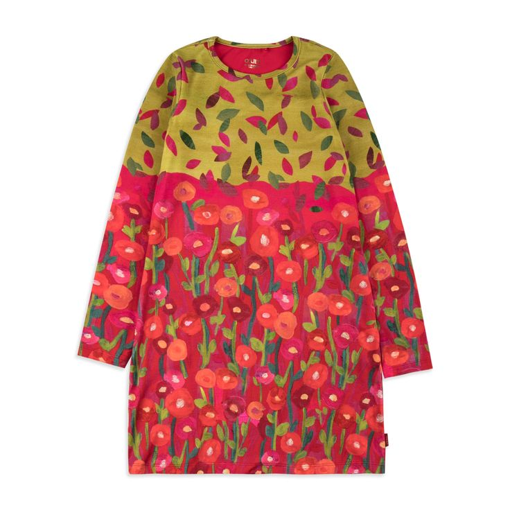 OILILY Girls Tastle Jersey Dress - Multi From £46 Girls long sleeve dress • Soft stretchy cotton • Round neckline • Colourful floral hedgehog print • Material: 95% Cotton, 5% Elastane
