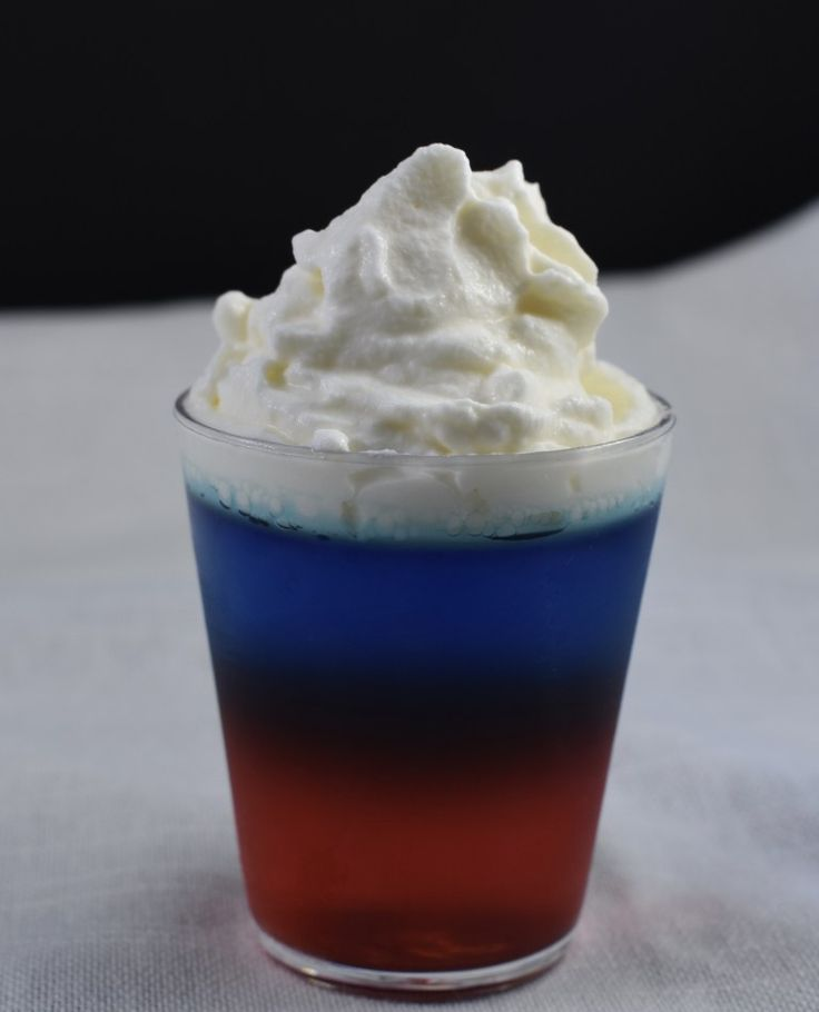 Red, White And Blue Jello Shots With Rum Infused Whipped