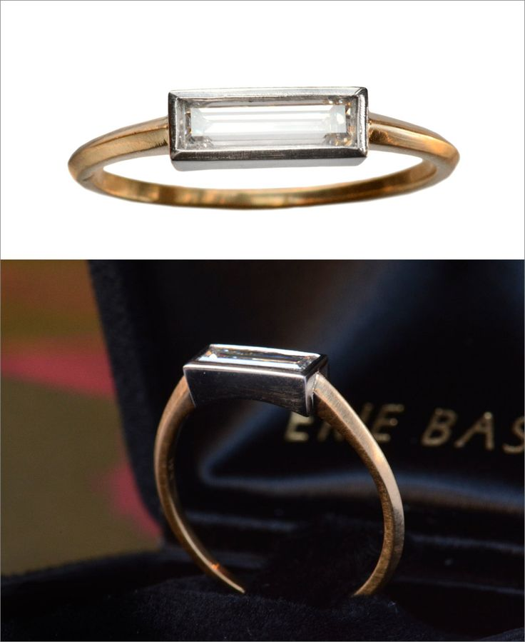 A new ring in our EB series with an unusually large and skinny rectangular step cut diamond that was probably cut around 1950. It's essentially a giant baguette cut– about 10 times the size of what's...