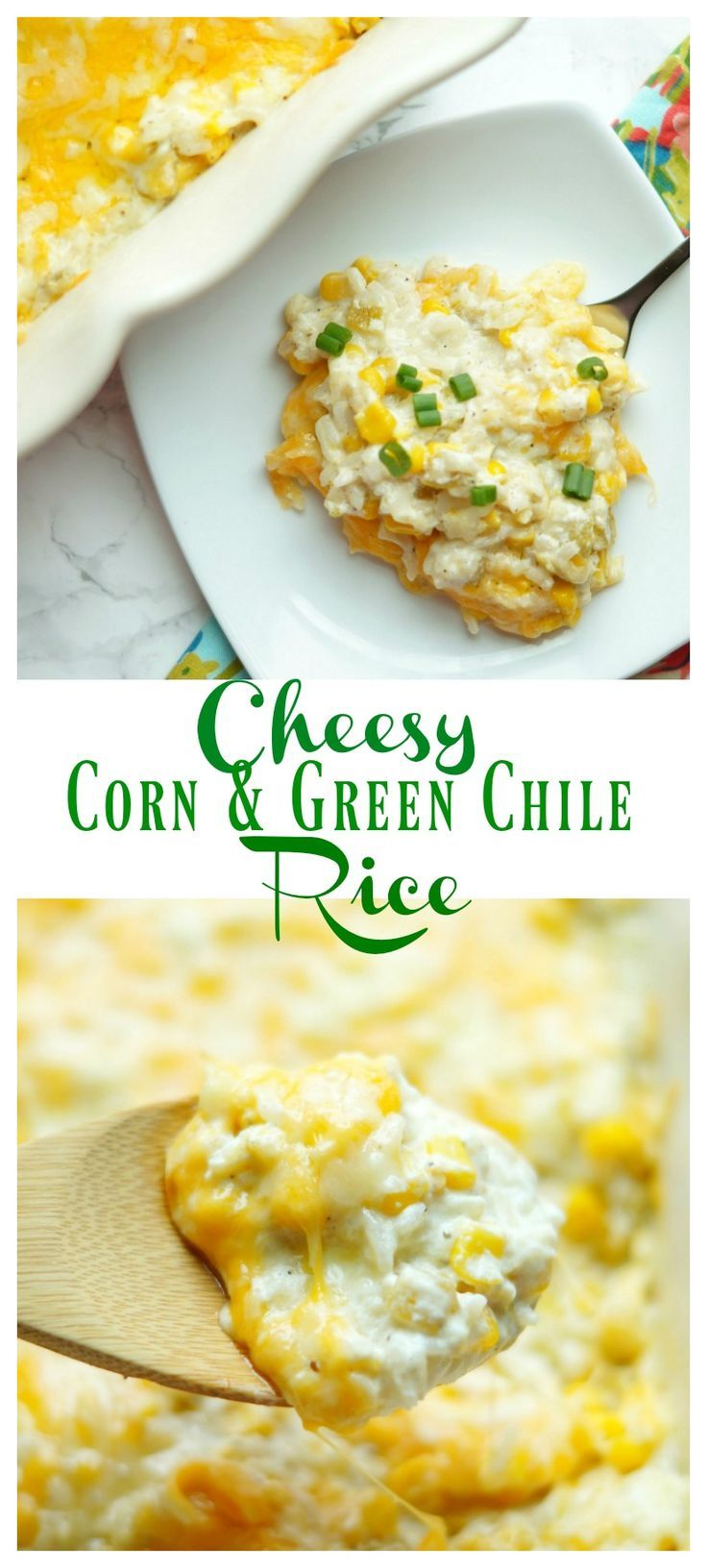 Cheesy Corn and Green Chile Rice [ rice recipes ] [ mexican side dish ]
