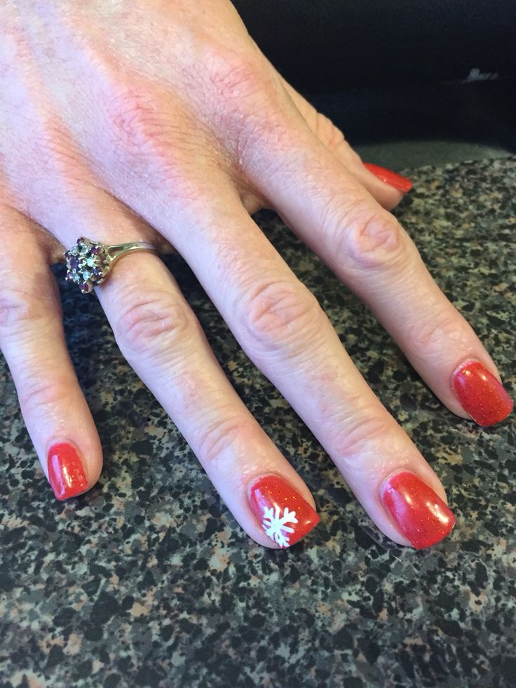 Red sparkle with snowflake Christmas nails