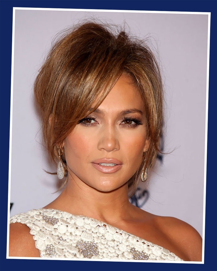 Jennifer Lopez Light Brown Hair Color Messy Updos ...