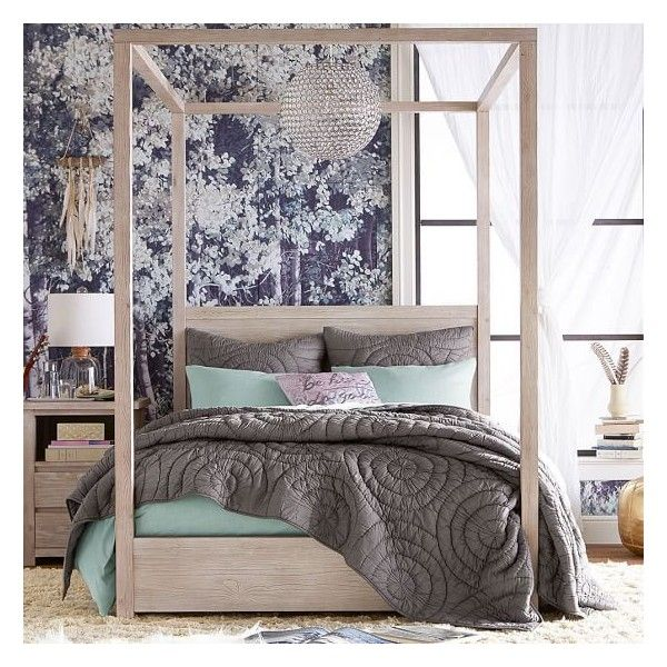 PB Teen Costa Canopy Bed and Wide Dresser Set, Full, Weathered White ($2,295) ❤ liked on Polyvore featuring home, furniture, beds, pbteen, white bed, handmade furniture, white canopy bed frame and eco friendly furniture