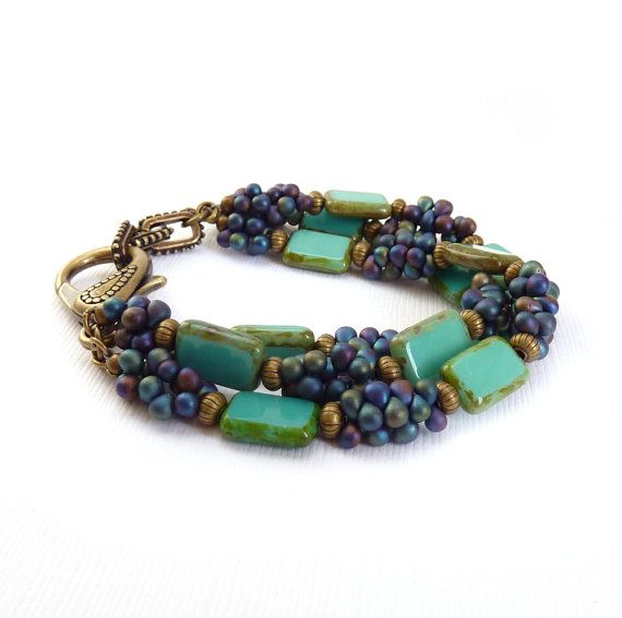 Turquoise Bead Bracelet Multistrand Picasso by RockStoneTreasures,