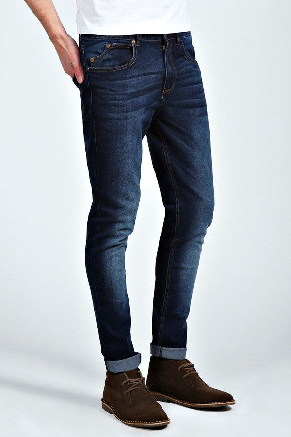 $35, Boohoo Dark Washed Indigo Stretch Skinny Fit Jeans. Sold by BooHoo. Click for more info: https://lookastic.com/men/shop_items/183076/redirect