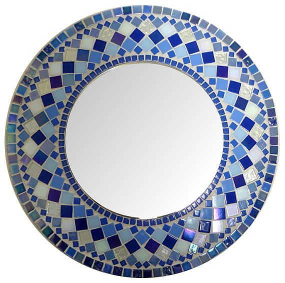 Round  Mosaic  Wall  Mirror Choose size Blue by SunAndCraft,