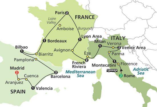 Map of Gems Of Italy, France & Spain | Travel | Pinterest ...