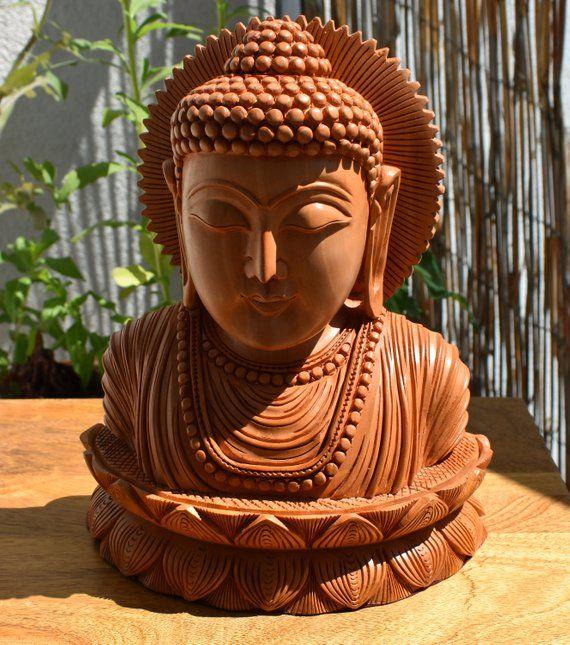 Indian HandicraftWooden giftIndian HandicraftSolid woodHandmadeHandicrafts Beautifully Hand Crafted Wooden Buddha Head Handmade 8