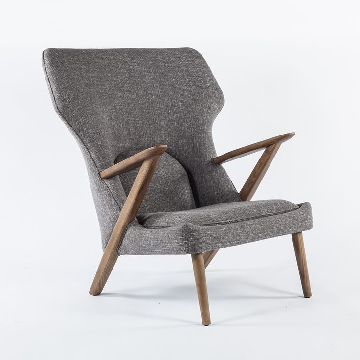 Mid Century Modern Dearan Lounge Chair - This handsome mid-century modern style chair has it all. It's bold, unique, and also comfortable. Ash wood legs and armrests strike a pose and provide sturdy support while multi-level foam cushioning combines with the broad back to maximize comfort. This luxurious chair will quickly become the centerpiece of any room.