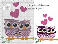 Owls family free cross stitch pattern