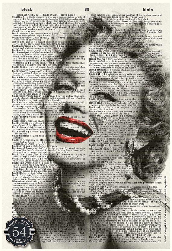 Marilyn Monroe Vintage Hollywood Dictionary Art by VintagePrint54