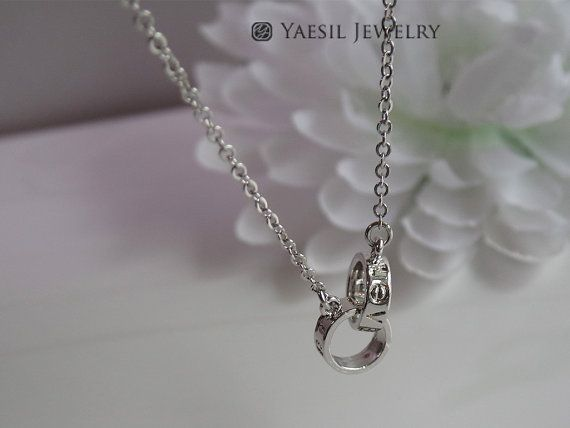 L O V E Ring Necklace Infinity Circles Double by YaesilJewelry