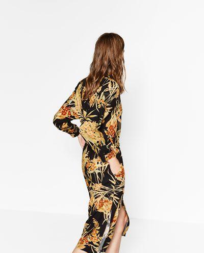 Zara AW16 viscose black midi button down dress with gold floral print