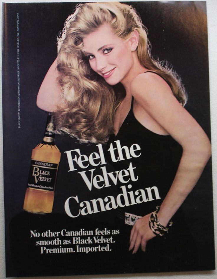 Although the Black Velvet ladies were blonde, Claire still imagined her red-headed self as one of them when she modeled her velvet jacket for her mom the Christmas before her mom died. Vintage 1985 Black Velvet Canadian Whisky Whiskey Playboy Print Ad Sexy Girl…