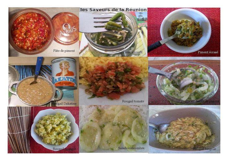 pâte de piment - piments confits - piment écrasé - rougail dakatine - rougail tomate - sauce de piment - rougail mangue - salade concombre - rougail bringelle