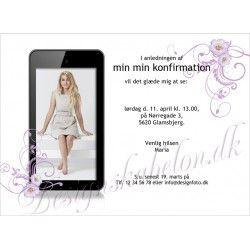 Invitation konfirmation med lilla blomster og iphone/smartphone/ipad/tablet