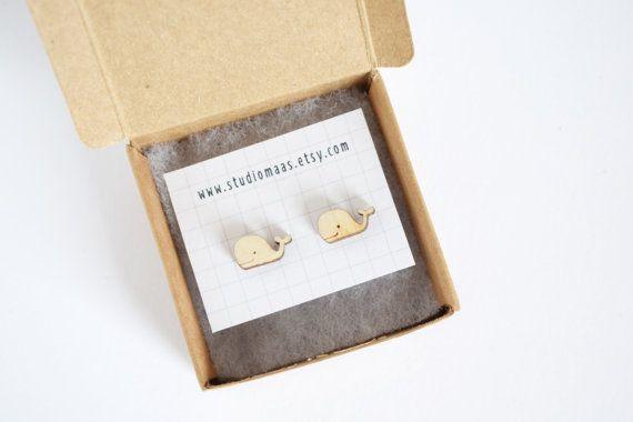 Walvis oorbellen, houten sieraden, lasergesneden oorbellen, schattige sieraden, grappig, dieren oorbellen, accessoire, studio maas