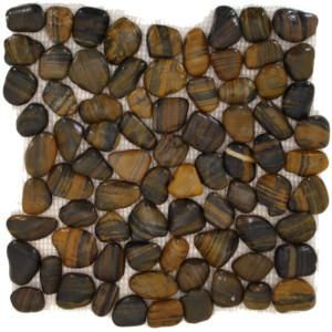 Auburn Pebble Tile is a great looking natural, hand made pebble tile with stunning burgundy and cranberry tones. We use exotic Asian polished river rocks that are first sorted for size and thickness t