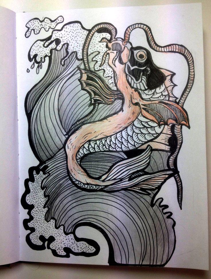 Зарисовка, набросок. Сом (Карп).  набросок. зарисовка. волк. А5, ручка, цветные карандаши #sketch #drawing #carp #art #picture #idea #graphic #mood #fish #waves #catfish