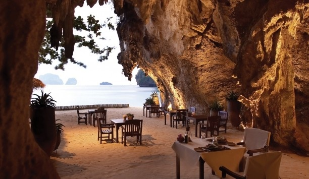 Rayavadee  Krabi, Thailand  The Grotto, one of the hotel's four restaurants, is right on Phranang Beach.