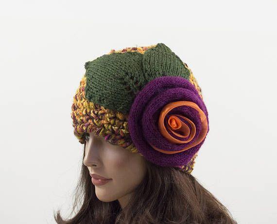 Crochet Beanie Hat with Large Flower  Yellow Orange