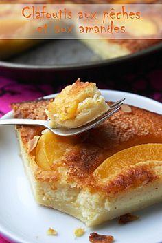 Clafoutis-peches-amandes Veel ei en fruit...weinig boter! #cuisine # française