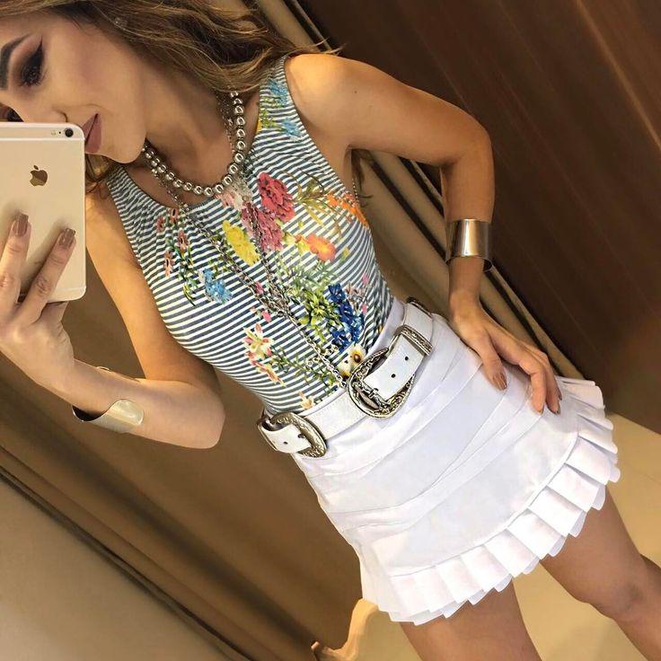 Body Sandra | Saia Dulci Branca  Compras on line: www.estacaodamodastore.com.br Whats app: (45)99820-6662 - Andreia ☎️SAC: (45)3541-2940 ou 3541-2195 E-mail: vendas@estacaodamodastore.com.br Facebook: Estação Store