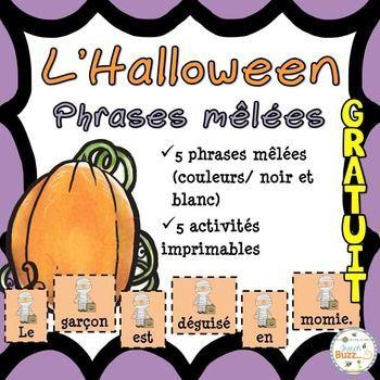 L'Halloween - Phrases mêlées - French Halloween - GRATUIT!