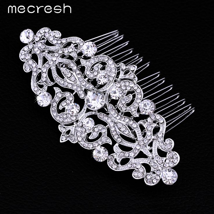 Mecresh European Design Floral Wedding Hair Accessories Crystal Bridal Hair Comb Wedding Hair Jewelry Hot Selling FS066