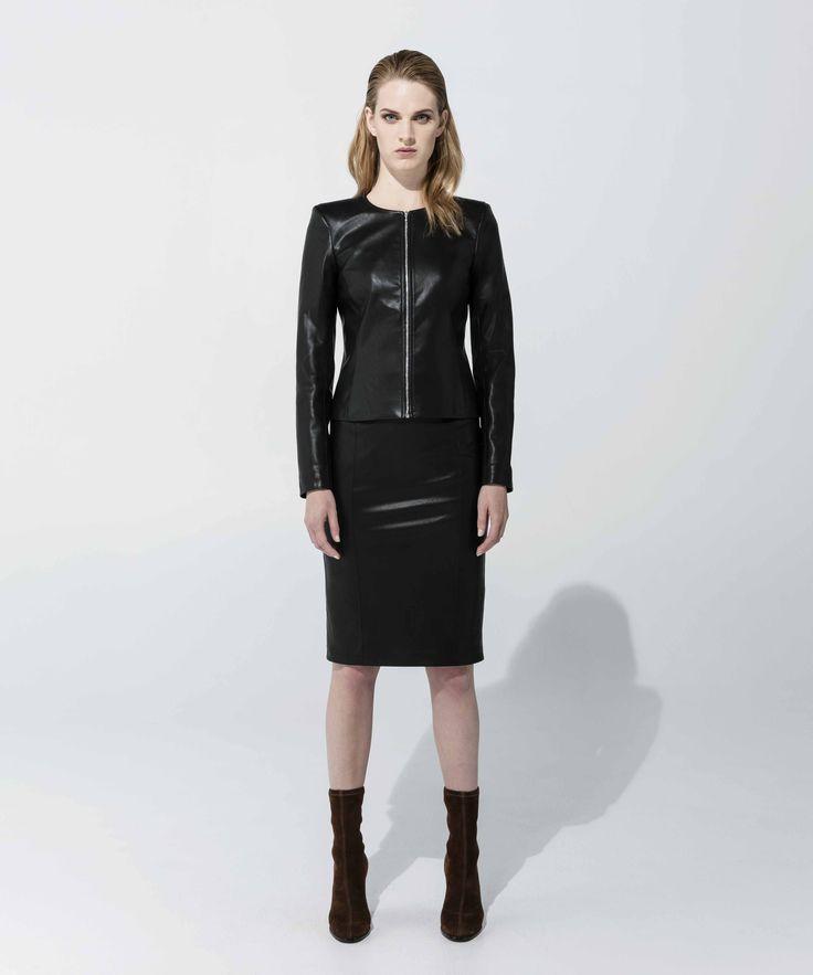 Leatherette Jacket - Black, Leatherette Skirt - Black