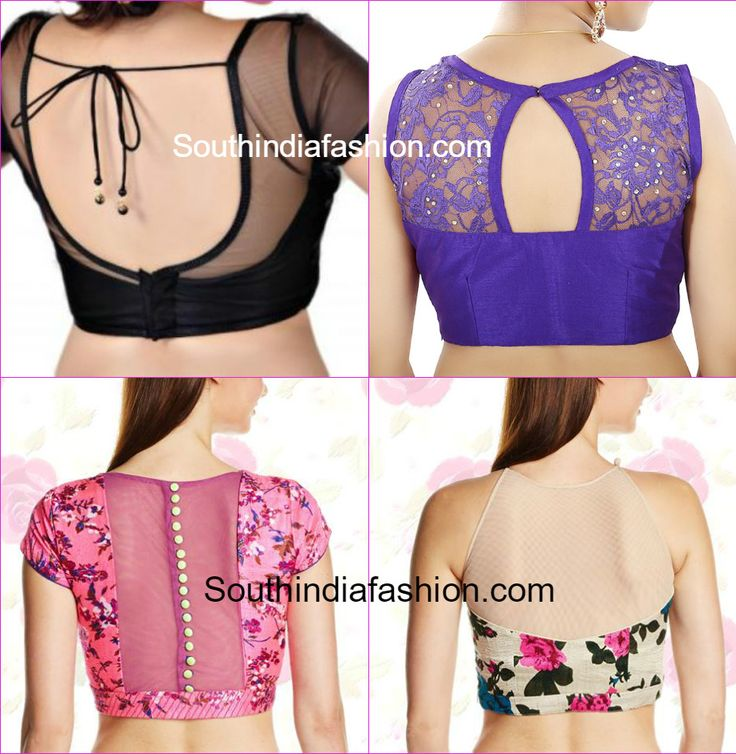 Elegance of saree can be increased with net blouse designs. Blouse with net sleeves, High Neck back, chinese collar, peter pan, boat neck.