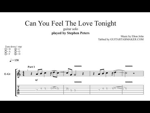 Can You Feel The Love Tonight instrumental guitar tabs (easy) - pdf guitar sheet music download - guitar pro tab video