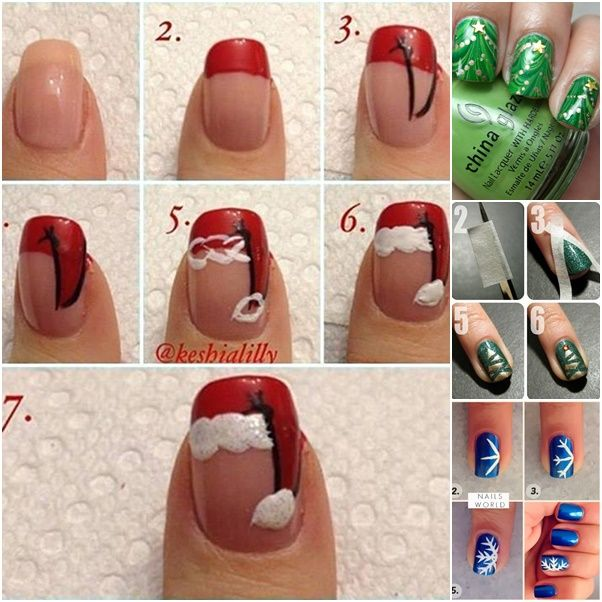 Are you ready for a chic festive look during the coming holidays by painting a winter wonderland on your nails? Here is a roundup of fancy holiday-looking nail manicure DIY ideas you will love to try everyday. The santa hat nails are super fun while sparkle and nude nails are