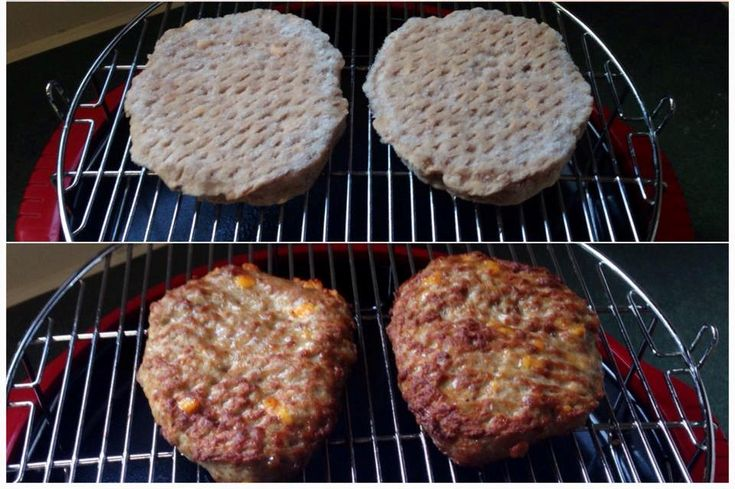 Even packaged frozen burgers turn out extra juicy when cooked in the NuWave Oven. Christy B. cooked these cheddar-bacon burgers for only 7 minutes per side, without defrosting, for a perfect, quick and easy meal.