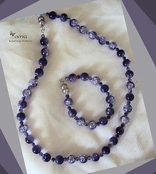 Crackle Glass Set Purple Necklace (F08)