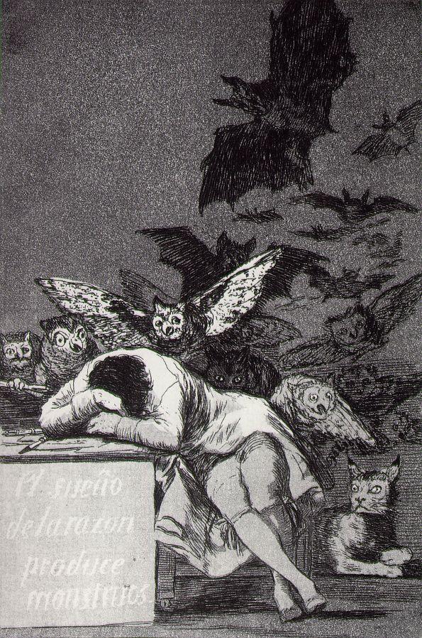 """Francisco Goya - """"The Sleep of Reason Produces Monsters/ El sueño de la razón produce monstruos"""" 1797"""