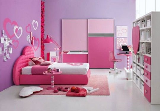 Girl Bedroom. Inspiring The Design Ideas And Contemplation When Obtaining Kids Bedroom Furniture: Gorgeous Minimalist Pink Concept Kids Bedroom Designs For Girls With Comfy Bed Pink Fur Rug And Standing Lamp Also Big Cupboard Ideas ~ wegli