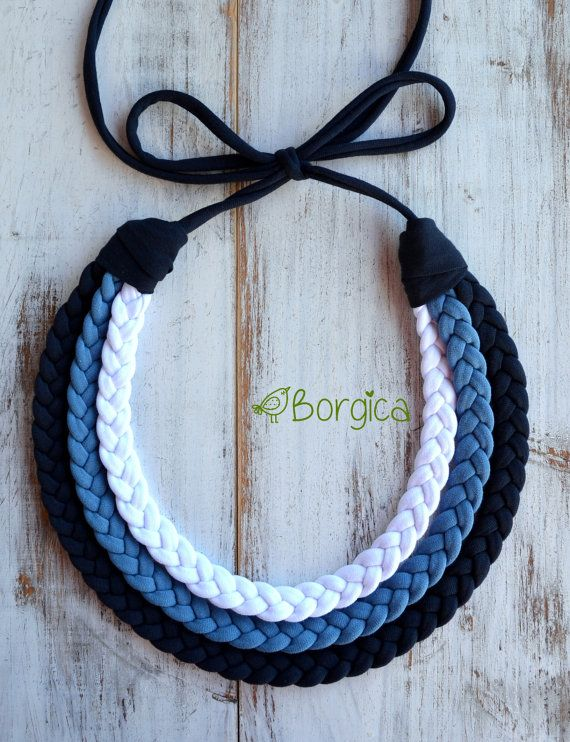 Azurro Multistrand Braided Statement Bib Necklace by Borgica
